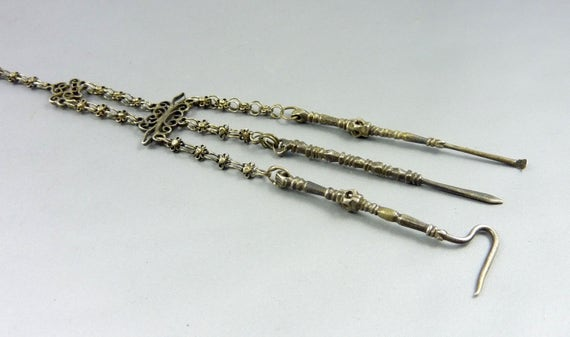 Old silver chinese  chatelaine pendant Ethnic Tribal jewelry Mien jewellery Hill tribe Asian Ethnic silver Chinese Antique jewellery