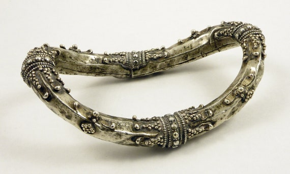 Old silver hollow anklet from South India, India,