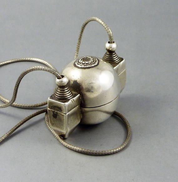 Antique silver Lingam casket box container pendant