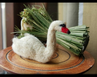 Needle felted swan, white swan, OOAK needle felted swan, fiber art collectible, miniature needle felted white swan, mini fiber swan