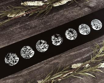 Minimal Moon Phase Sew On Back Patch Mystical Occult Moon Phase Crystal Pins & Patches