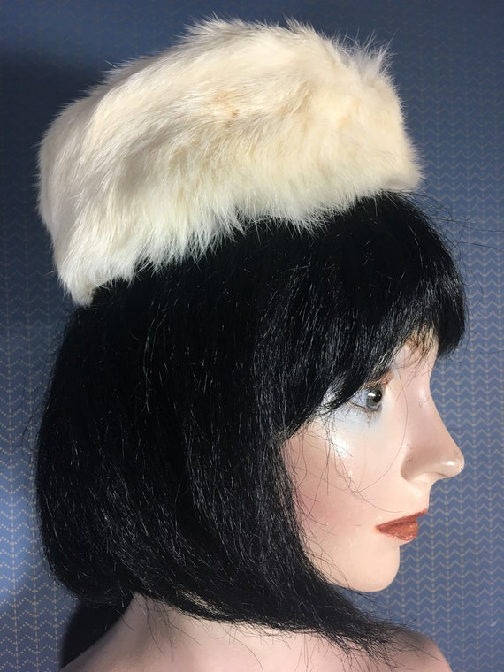 Bunny fur muff and pillbox hat from 1960s