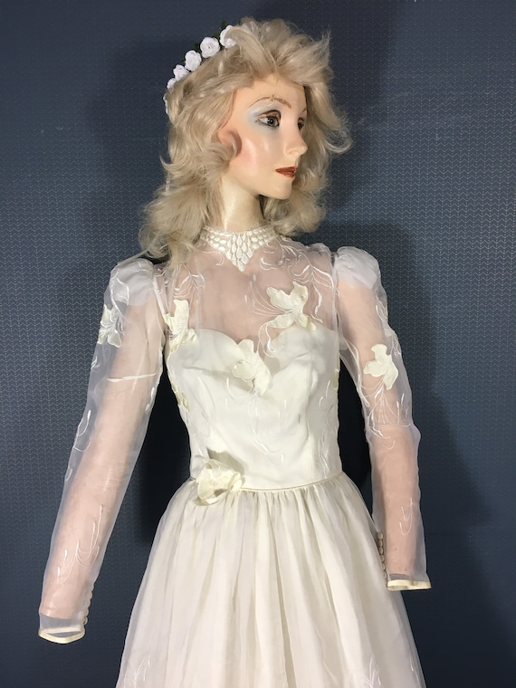 "Wedding Bridal gown Vintage 1970's ""Sheer and Love"