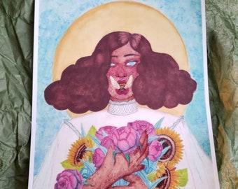 Emerge -  matte art print floral botanical bee magick fantasy watercolor art print