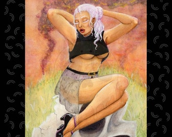 Mistress - print watercolor art fantasy poster pin up art