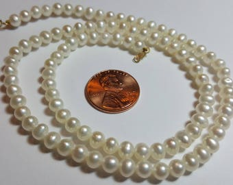 VintagePearl Necklace with 14k Gold Closings