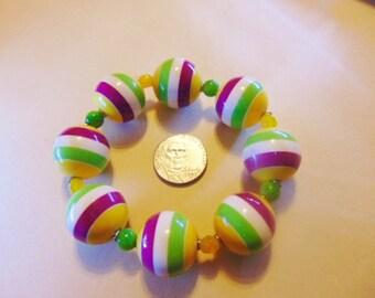 Sale Vintage Stretch Stripe Lucite Bead Bracelet