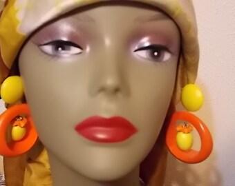 Vintage Orange And Yellow Wooden Dangle Earrings