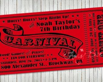 Items Similar To Carnival Ticket Birthday Party Invitations