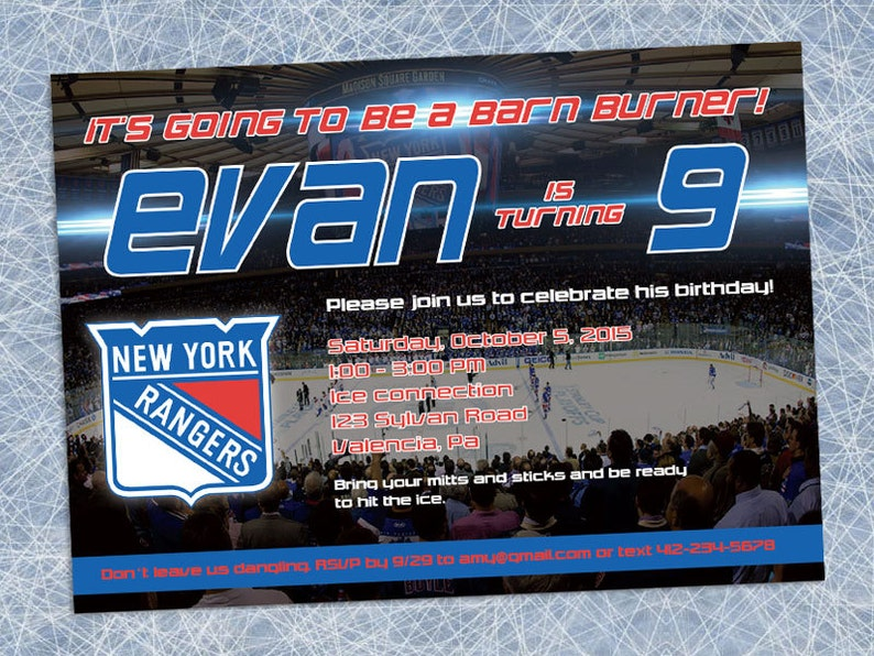 graphic regarding New York Rangers Printable Schedule named Contemporary York Rangers Invitation - Printable