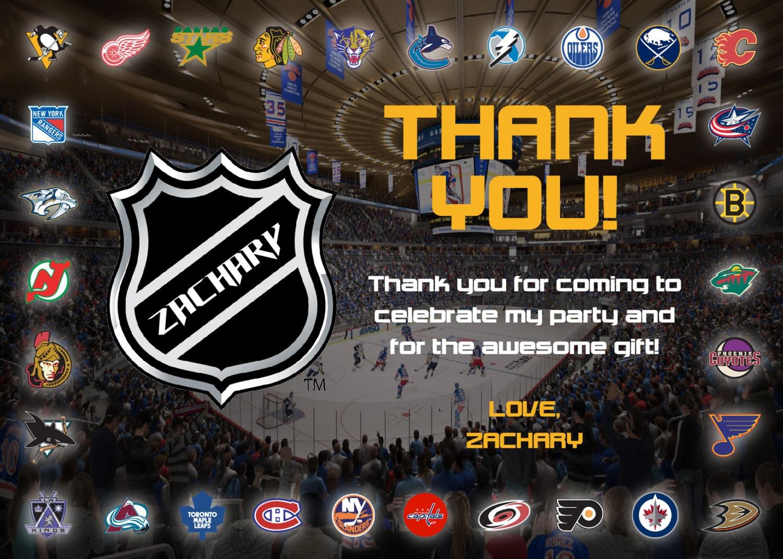 NHL Ice Hockey Birthday Thank You Card Printable