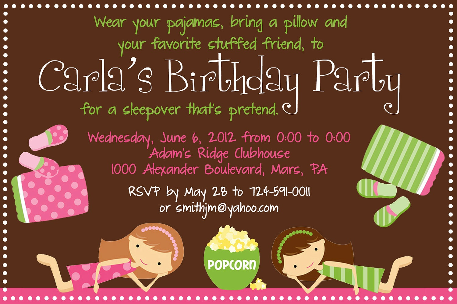 Famous Pyjama Party Invites Images - Invitations and Announcements ...
