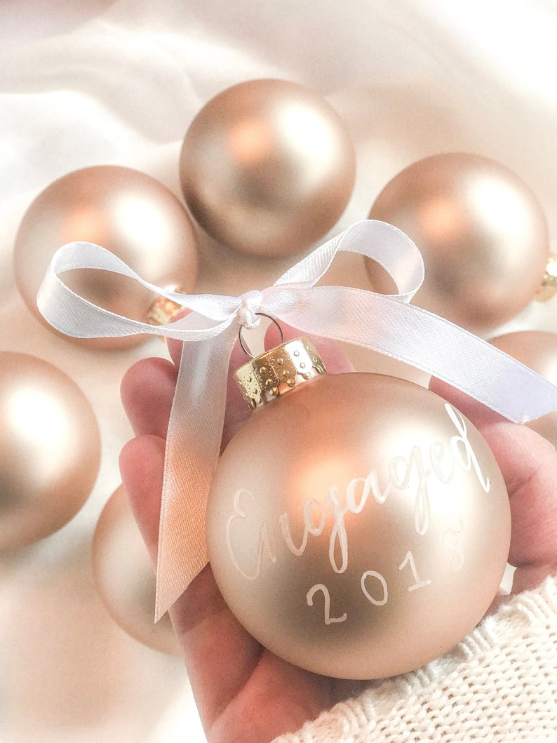 Personalized Christmas Ornaments Rose Gold Christmas Ornament Hand Lettered Ornament Unique Christmas Ornament Baby S First Christmas