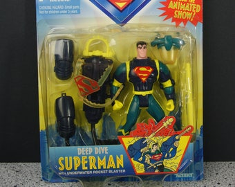 Deep Dive Superman Action Figure New In Package by Kenner - Animated Series 1996