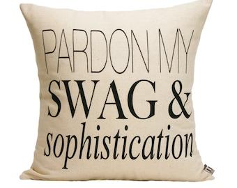 "Pardon My S&S  Pillow Cover // 16""x16"" Silk Screen  natural/oatmeal Pillow Cover"