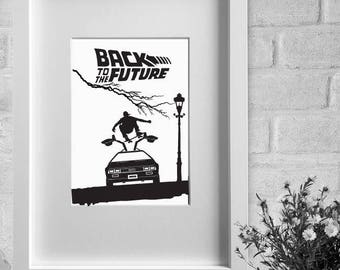 framed print - 'Back To The Future' - minimalist film poster A3 / A4 print or A4 / A3 framed print, wall art, home decor, gift, movie poster