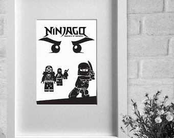 framed print - 'NINJAGO' - minimalist film poster A3 / A4 print or A4 / A3 framed print, wall art, home decor, gift, movie poster