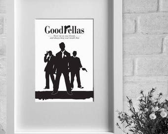 framed print - 'GOODFELLAS' - minimalist film poster A3 / A4 print or A4 / A3 framed print, wall art, home decor, gift, movie poster