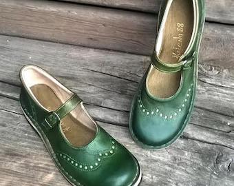 Handmade maryjanes TEIDE in GREEN