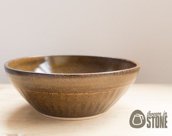 Bowl - Speckled Brown Stoneware Bowl - Wood Effect Ceramic Bowl - Chattered texture - Home Decor Dish