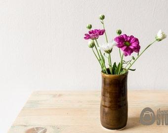 Mini Vase   Brown Individual Flower Vase   Stoneware Pottery