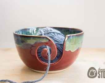 Yarn Bowl - Deep Red and Blue Green Wool Bowl - Stoneware Knitting and Crochet Bowl