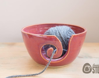 Yarn Bowl - Deep Pink Grapefruit Wool Bowl - Stoneware Knitting and Crochet Bowl