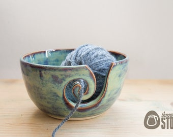 Yarn Bowl - Blue and Purple Wool Bowl - Stoneware Knitting and Crochet Bowl