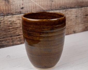 Vase - Speckled Brown Stoneware Flower Vase - Wood effect Pottery