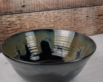 Black and Bronze Stoneware Bowl - Serving Bowl - Decorative Bowl