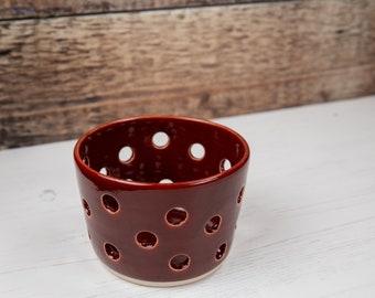 Tea Light Holder - Deep Red Candle Holder - Stoneware