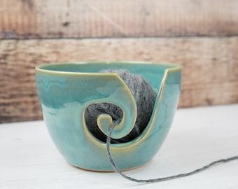 Yarn Bowl - Sea Mist Green Stoneware Wool Bowl - Gift for Knitter