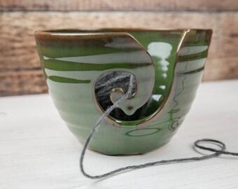 Yarn Bowl - Forest Green Wool Bowl - Stoneware Knitting and Crochet Dish