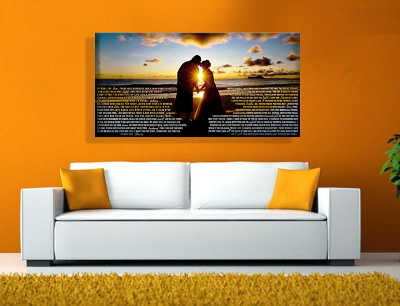 Head Board Large Wedding Canvas with Wedding Vows image 0