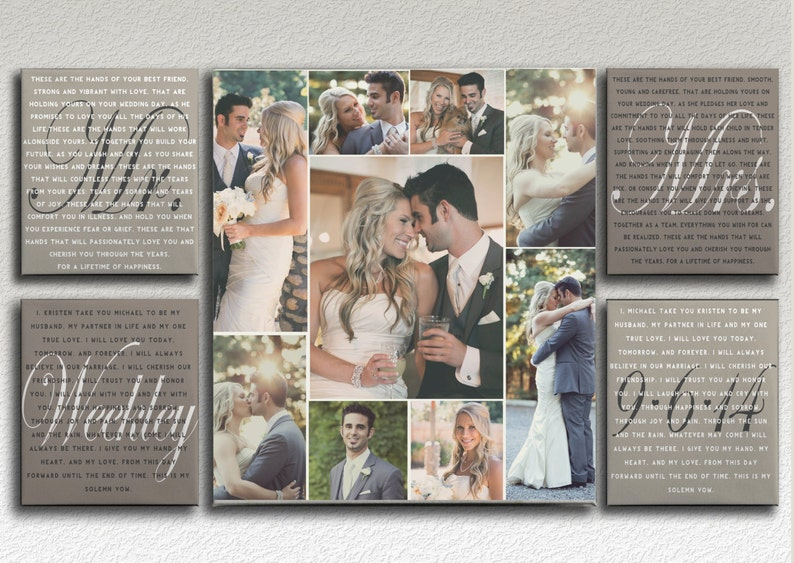 Mr and Mrs Wedding Vows with Photo Collage on Canvas image 0