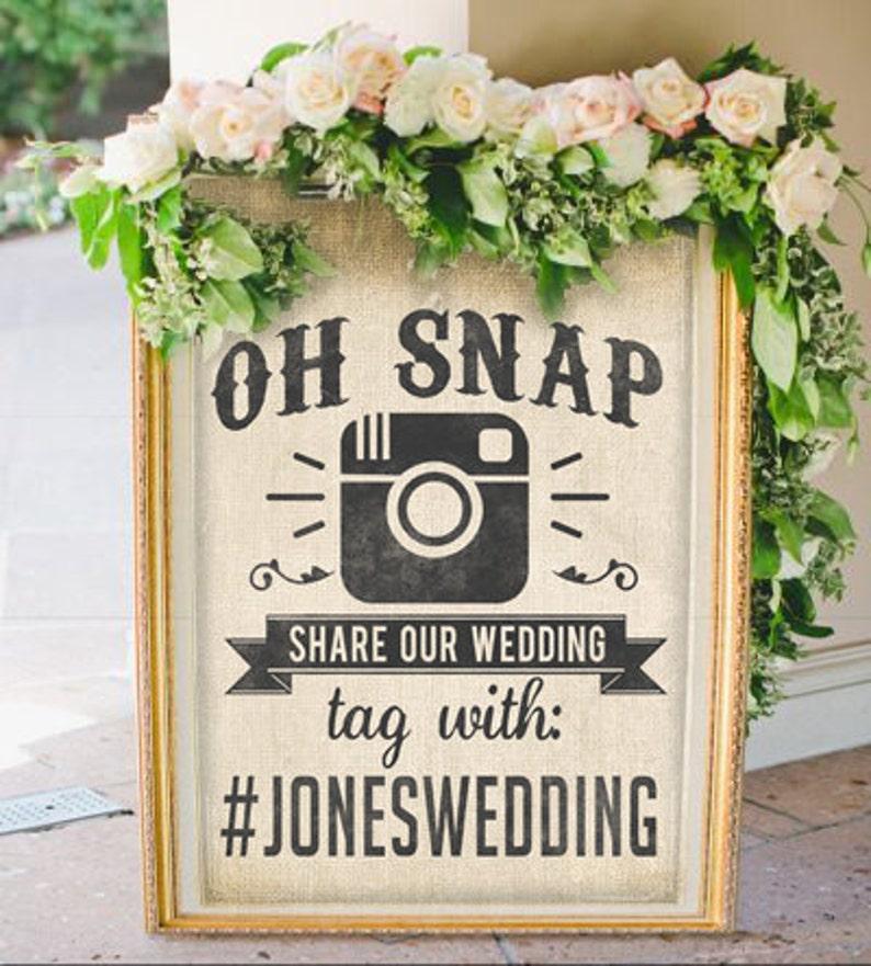 Custom Social Media Hashtag Wedding or Party Sign image 0
