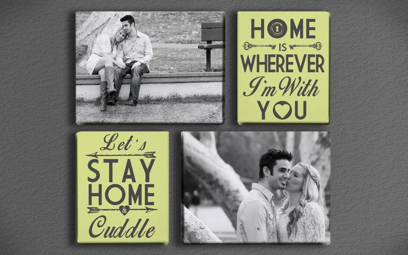 Custom Personalized Typography and Photo Canvas Cluster with image 0