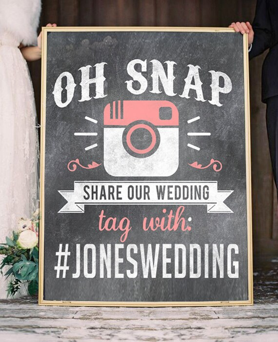 Share the Love and Your Photos Social Medial Hastag Wedding Sign Poster Chalkboard custom background color