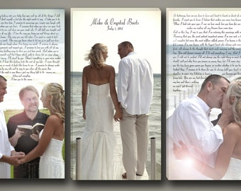 Wedding Vow Art with Photography Triple Canvas