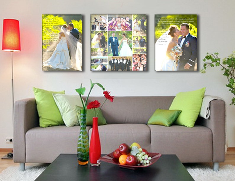 Large Triple Canvas with Center Collage of Wedding Photos image 0