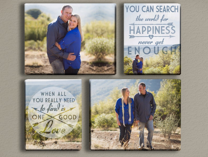 Engagement Photo Canvases with Typography Quote image 0