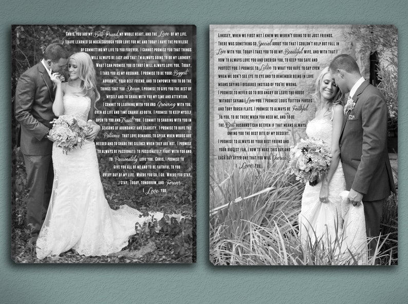 Wedding Vow Art with Photos and Mixed Fonts image 0