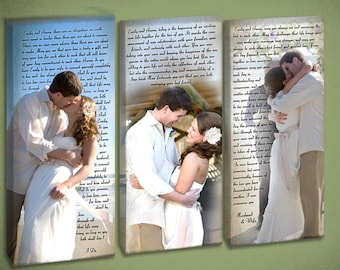 Triple Photo Wedding Canvas with Vow Wall Art