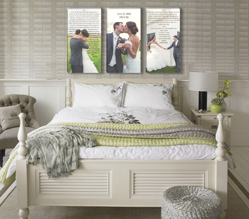 Wedding Vow Art with Photos Three Canvases Photos with image 0