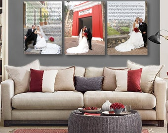 Wedding Vow Wall Art with Wedding Photos- Triple Canvas