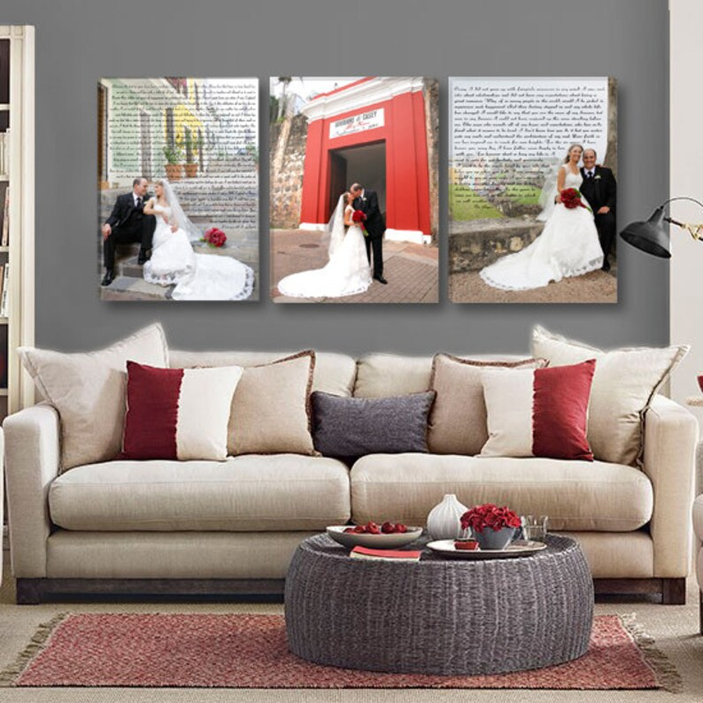 Wedding Vow Wall Art with Wedding Photos Triple Canvas image 0