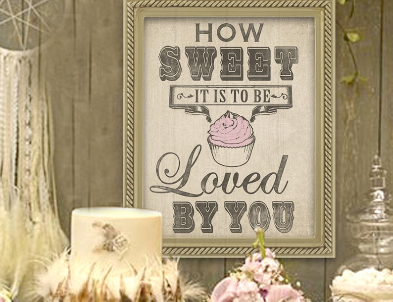 Wedding Cupcake Sign in Burlap Prefect for the Dessert Table image 0