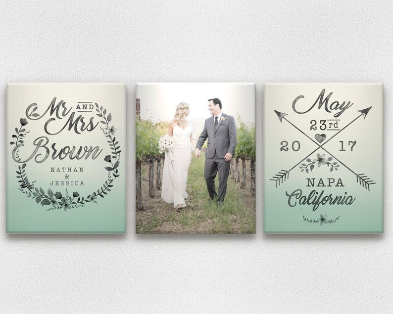 Ombre & Watercolor Wedding Canvases with Photo Names Date image 0