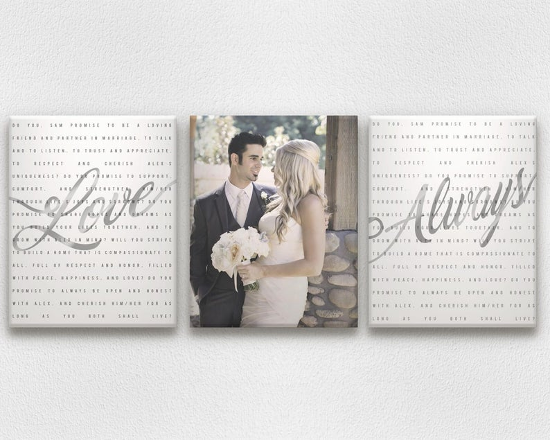 Metallic Gold or Silver Wedding Vow Art with Photo on Canvases image 0