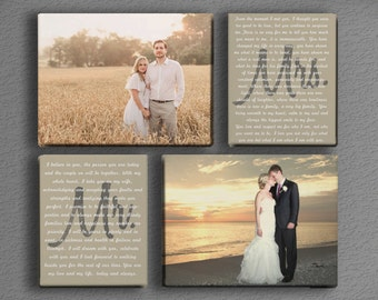 Wedding Vow Art - Mr. and Mrs. with Two Photos - Printed Canvas Photos